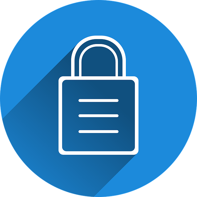White lock icon with blue background