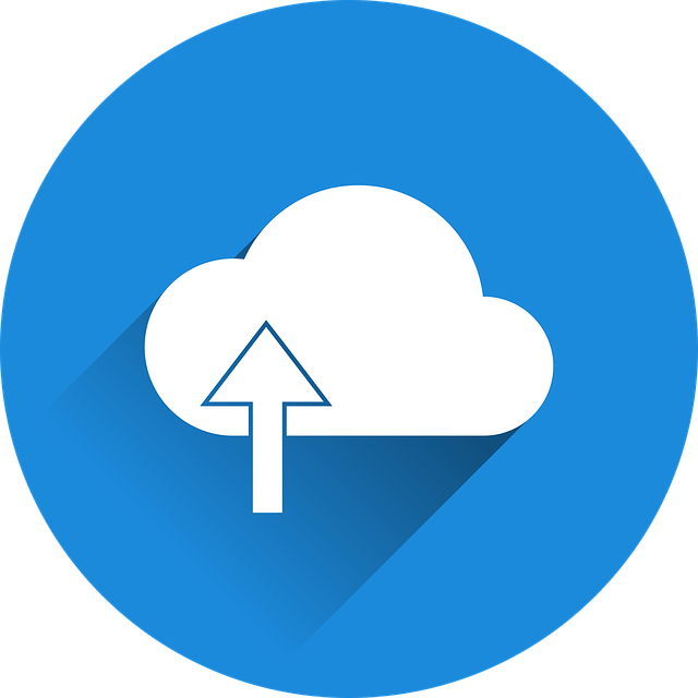 White cloud icon with blue background