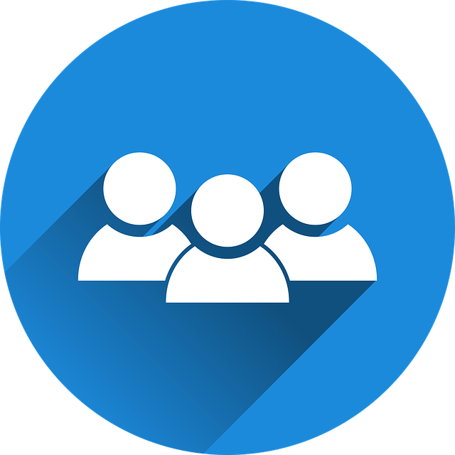 White group icon with blue background