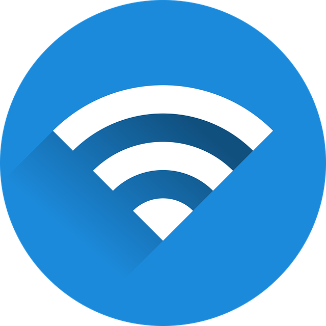 White wifi icon with blue background