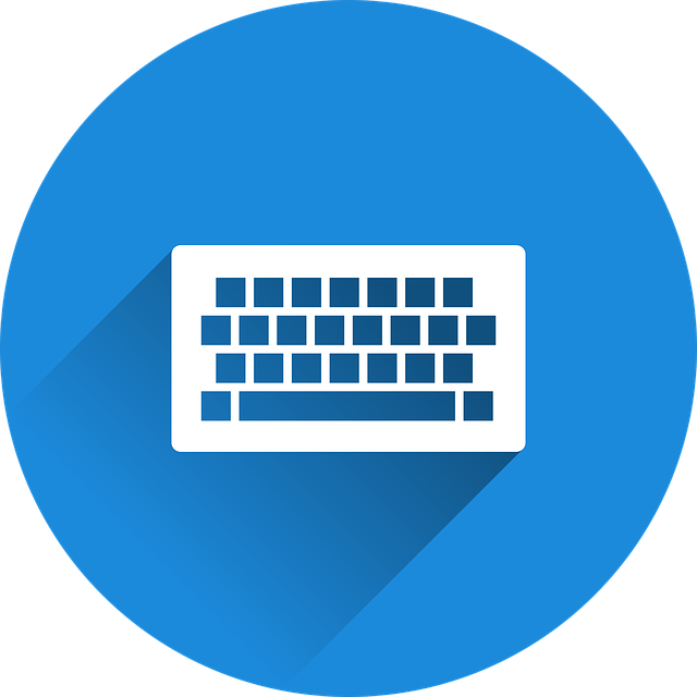 white keyboard icon with blue background